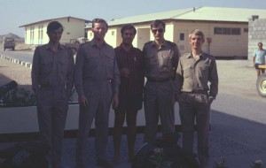Minder in Masirah. Dave Skinner, John Boyd, Scottish captain?, Paul, Andy Adams.